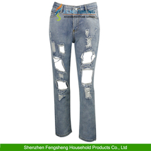Fashion Latest New Style Women Pants Ripped Jeans Cheap Price