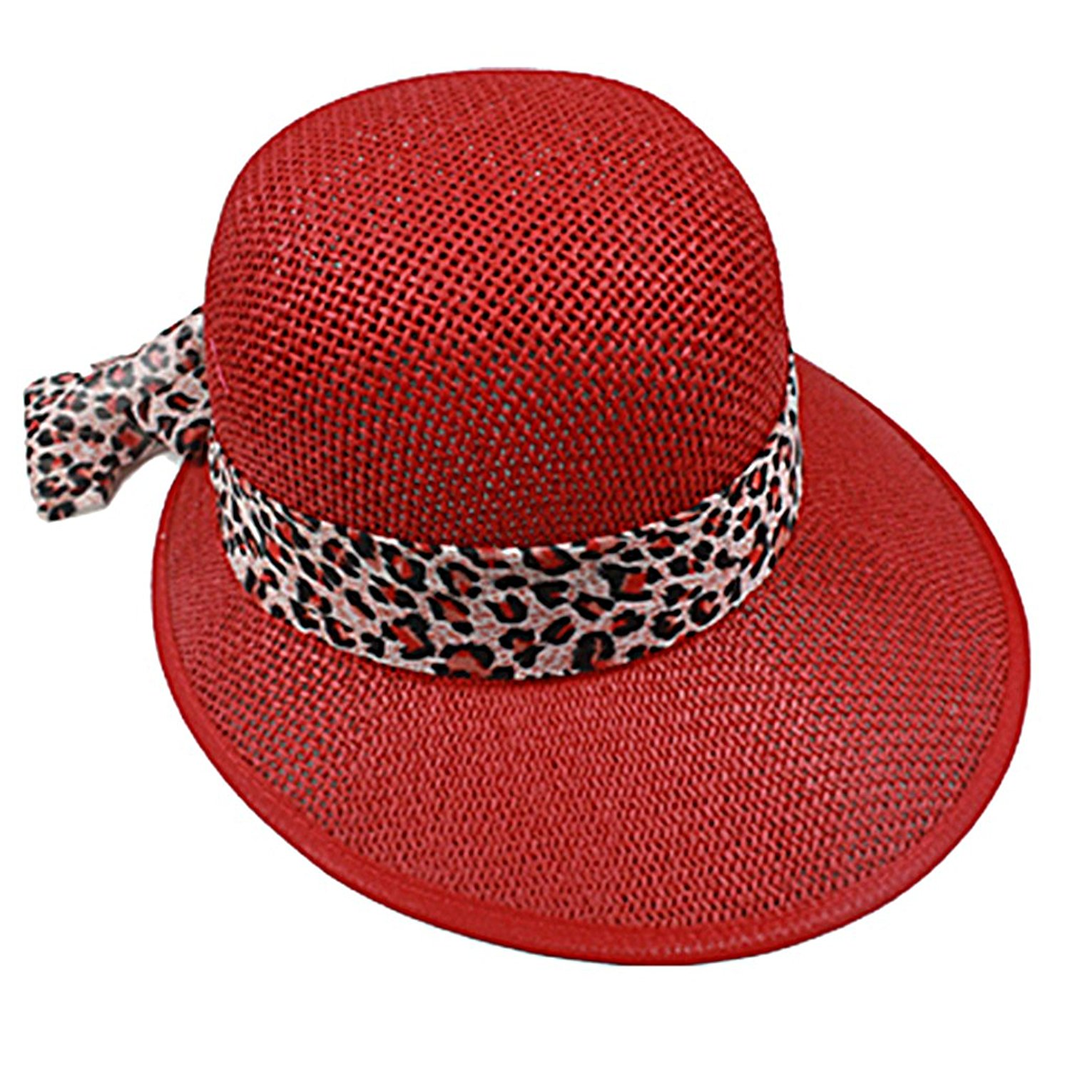 SILVERFEVER Silver Fever Women Summer Fancy Sun Hat Fits All (Red with Cheetah)