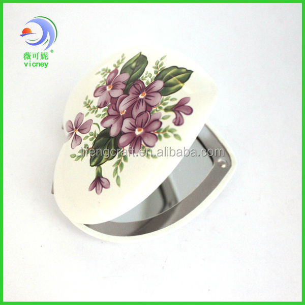 heart shape flower color make up small mirror