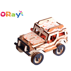 3D Wooden Puzzle Car Jeep Mechanical Models Laser Cutting Jigsaw DIY Wood Toy Assembly Constructor Kits