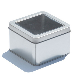 Custom large square matte metal tin tea box with clear window