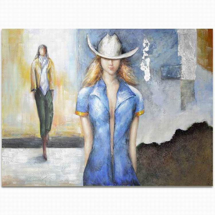 Abstract hotel decoration fashion hat model woman face oil painting on canvas