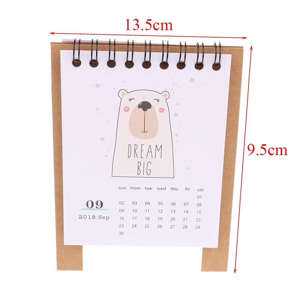 Kawaii Cartoon Animal Calendar Desk Standing Paper Calendar Multifunction Schedule Planner Notebook Sale Overall Discount 50-70% Calendars, Planners & Cards Office & School Supplies