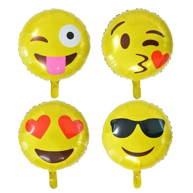 Christmas Promotional Gift Inflatable Foil Emoji Balloon Toys For Kid