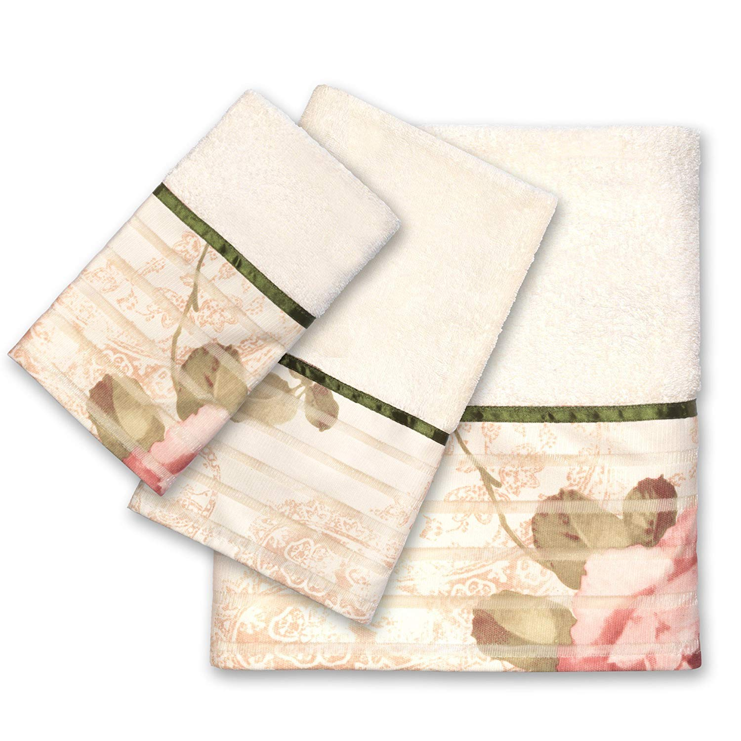 PH 3 Piece Beige Rose Printed Towel Set With 48 X 24 Inches Bath Towel, Light Brown Multi Floral Stripe Flowers Printed Soft Cozy Comfortable Modern Stylish Elegant Gorgeous Towels, Cotton