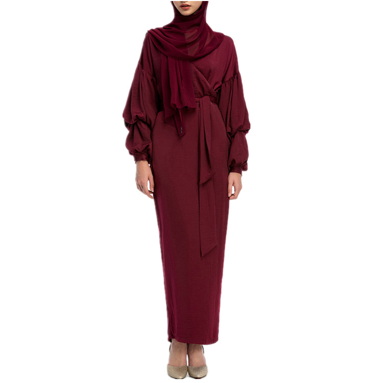 2019 Latest Islamic Clothing Fashion Puff Sleeve Soft Crepe Baju