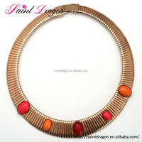 New Women Vintage Gothic Choker Necklace Short Inlaid ruby Chain Collar Necklace