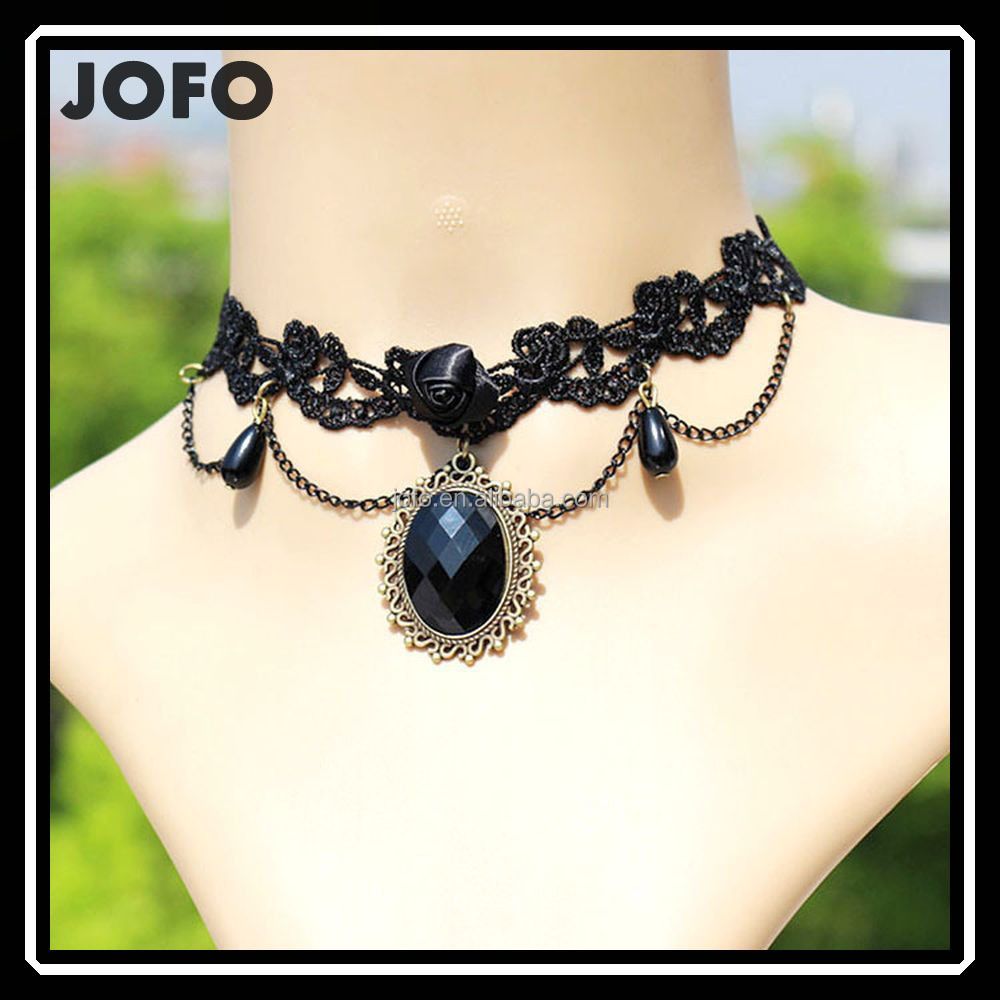 Wholesale Black Lace Necklaces & Pendants False Collar Women Accessories Gothic jewelry Choker Necklaces Pendants
