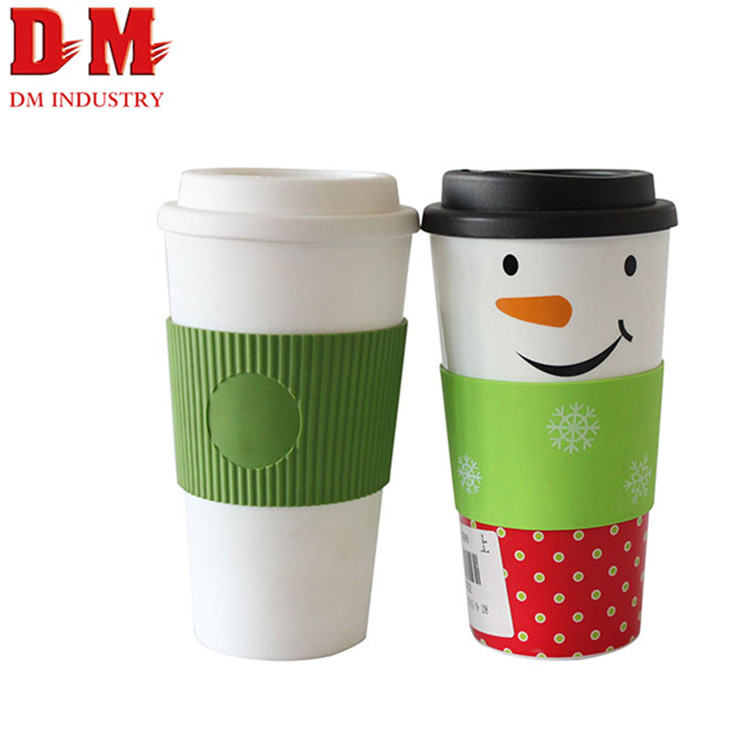 Custom printed Office reusable plastic coffee mug cups with lid