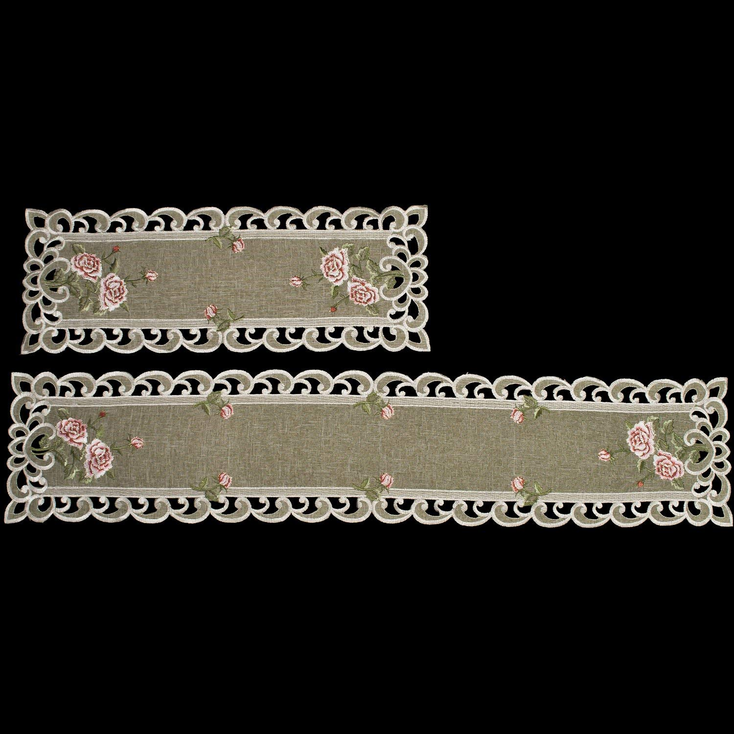 """Set of 2, Table Runner with a Pink Rose and Sage Green Burlap Linen Fabric, Coffee Table Scarf, Toilet Lid Scarf, Size 8"""" x 20"""" & 8"""" x 35"""" Rectangle"""