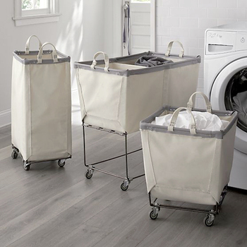 hotel commercial stackable canvas fabric dirty laundry basket with wheels legs