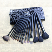 Hot sale natural goat hair custom logo15pcs make up brush set professional makeup brushes with leather bag