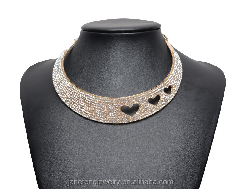 Metal Gold Collar Choker Necklace Fashion Gold Rhinestone Statement Necklaces