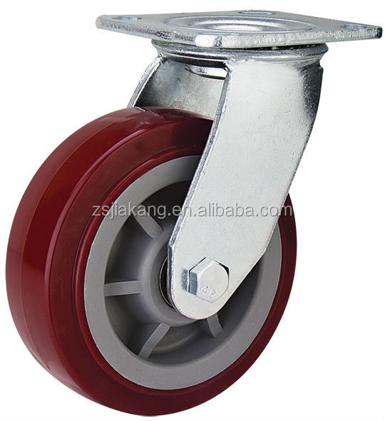 "5"" heavy-duty locking caster solid plastic wheels with bearings"