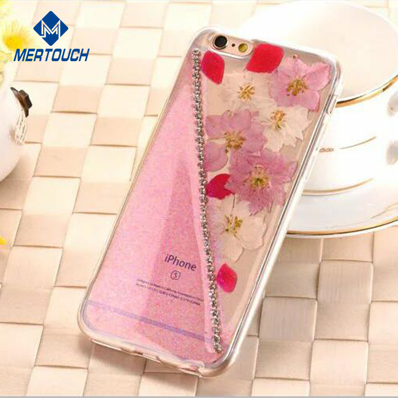 Support FAB shipping Customized design for iphone 6 6plus 7 7plus mobile phone case clear TPU bling bling flower back cover