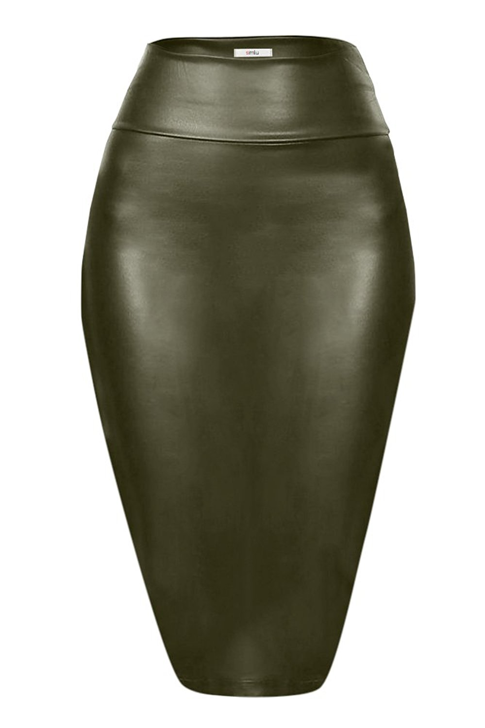 4cebd698af Get Quotations · Simlu Faux Leather Pencil Skirt Below Knee Length Skirt  Midi Bodycon Skirt Womens, USA