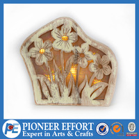 Artificial wood flower with led light battery operate
