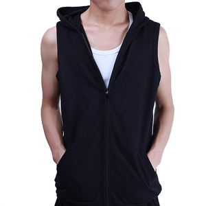 Hot Selling Fashion Mens Black Zipper Sleeveless Gym Hoodie 65%Cotton 35%Polyester Jersey Running Sports Hoodie