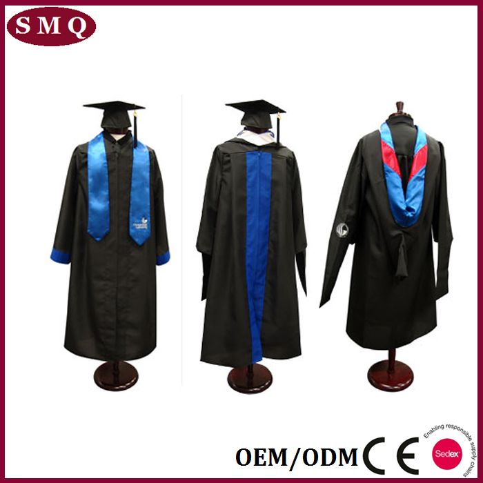 Wholesale good quality black university graduation robe gown