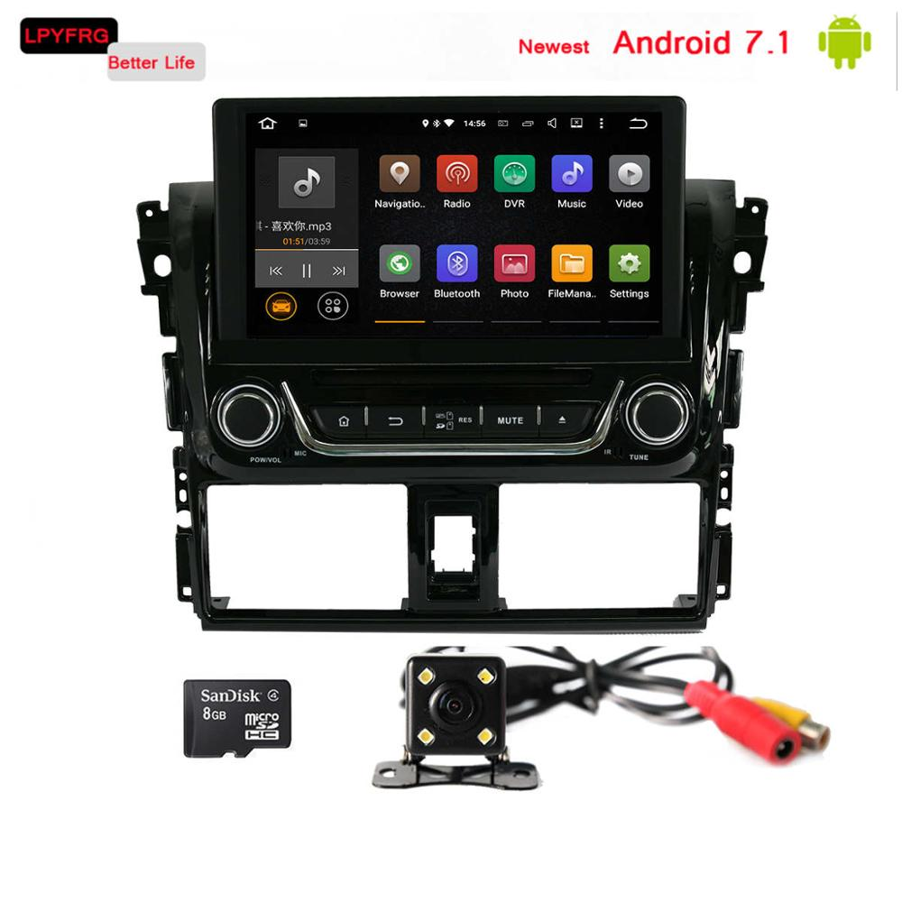 android 7.1 car dvd player for toyota yaris 2014 2016 built-in 3G wifi 2gb ram rear cam dab+ a/v system car gps stereo for yaris