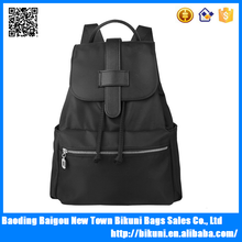 Fashion girls school bag day backpack pure black leather and nylon backpack for young lady