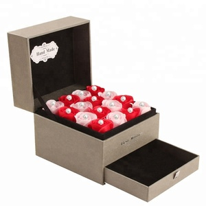 DIY Square Paper Board Drawer Bracelets Necklace Pendant Earrings Jewelry Packaging Boxes With Rose Flower