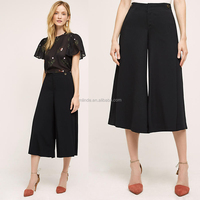 Alibaba China Apparel Manufacturer Casual Fashion Design Women Wide Leg Pants Plain Trousers for Ladies Office High Waisted Pant