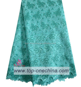 Teal swiss lace double organza lace for lady party dress