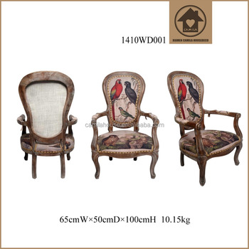 retro wood design dining chair kitchen antique style wood frame armchair parrots image wood relaxing chair - Wood Frame Armchair