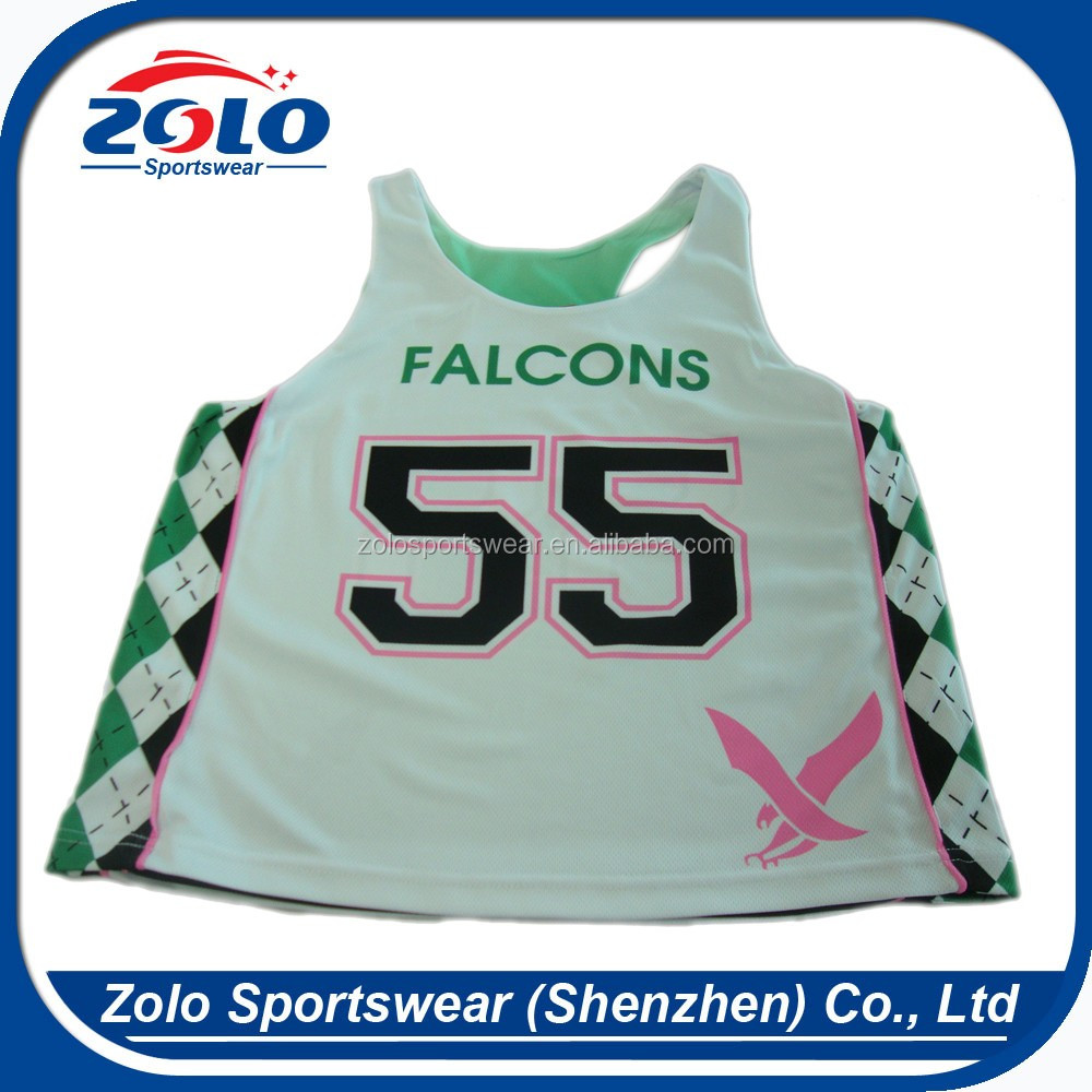 Cheap Price Custom Made Funny Youth Ladys Lacrosse Pinnies With Race Back
