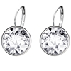 Limit 30 pairs jewelry fashion simple leverback white gold 925 sterling silver color wedding earrings+crystals from Swarovski