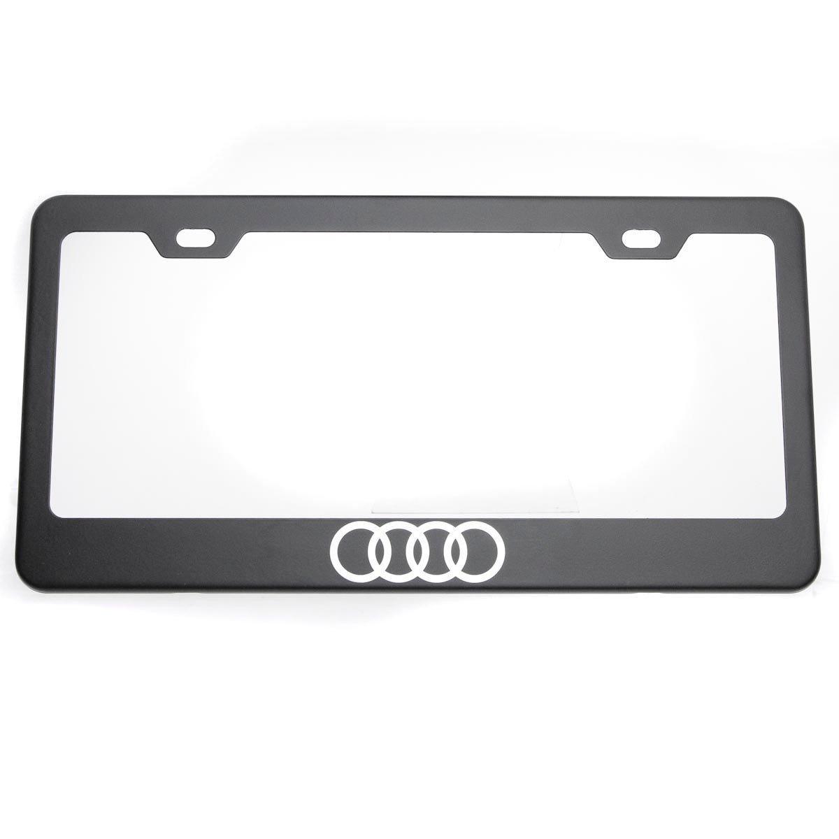Buy One Matte Black Audi Logo Mirror Stainless Steel License Plate ...