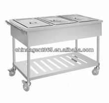 Assembled refrigerated bain marie with wheels