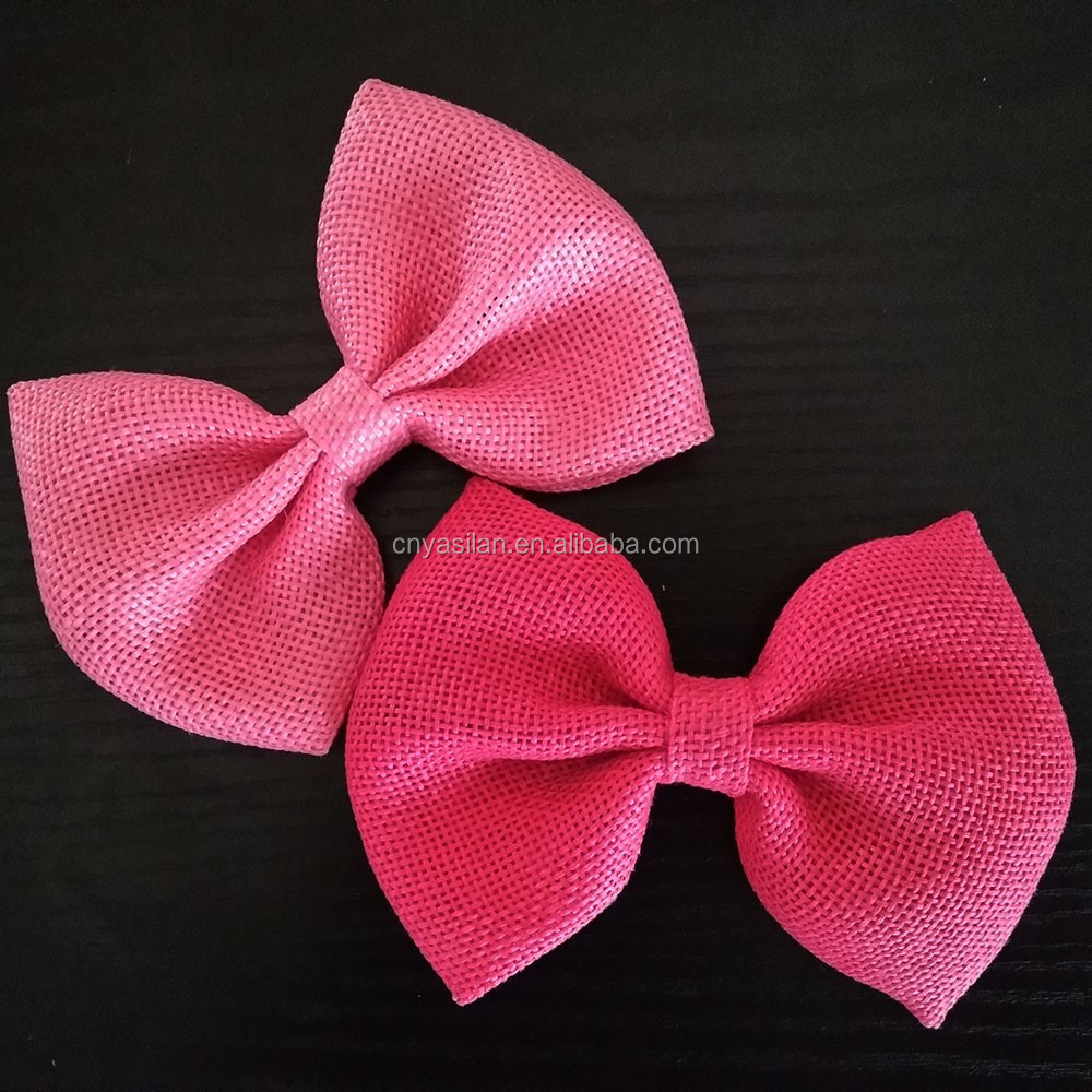 4'' Burlap Fabric Hair Bows Baby Girl's Kid's Fabric Bows For Clips Headbands Wholesale