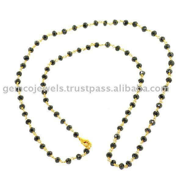 Natural Black Diamond 18kt Gold Designer Handmade Wholesale Beaded Necklaces Jewellery