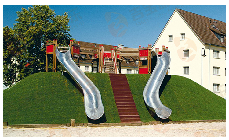 Factory Custom New Style Big Double Outdoor Stainless Steel Slide For Kids