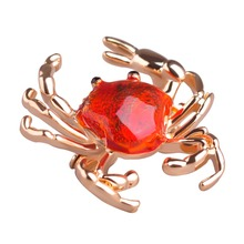 Hot Enamel Cute Crab Gold Ouro Anime Icon Bag Pendant Sweater Bijoux Animal Jewelry Brooch