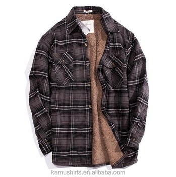 Mens Quilted Flannel Sherpa Lining Winter Warm Shirts Buy Mens