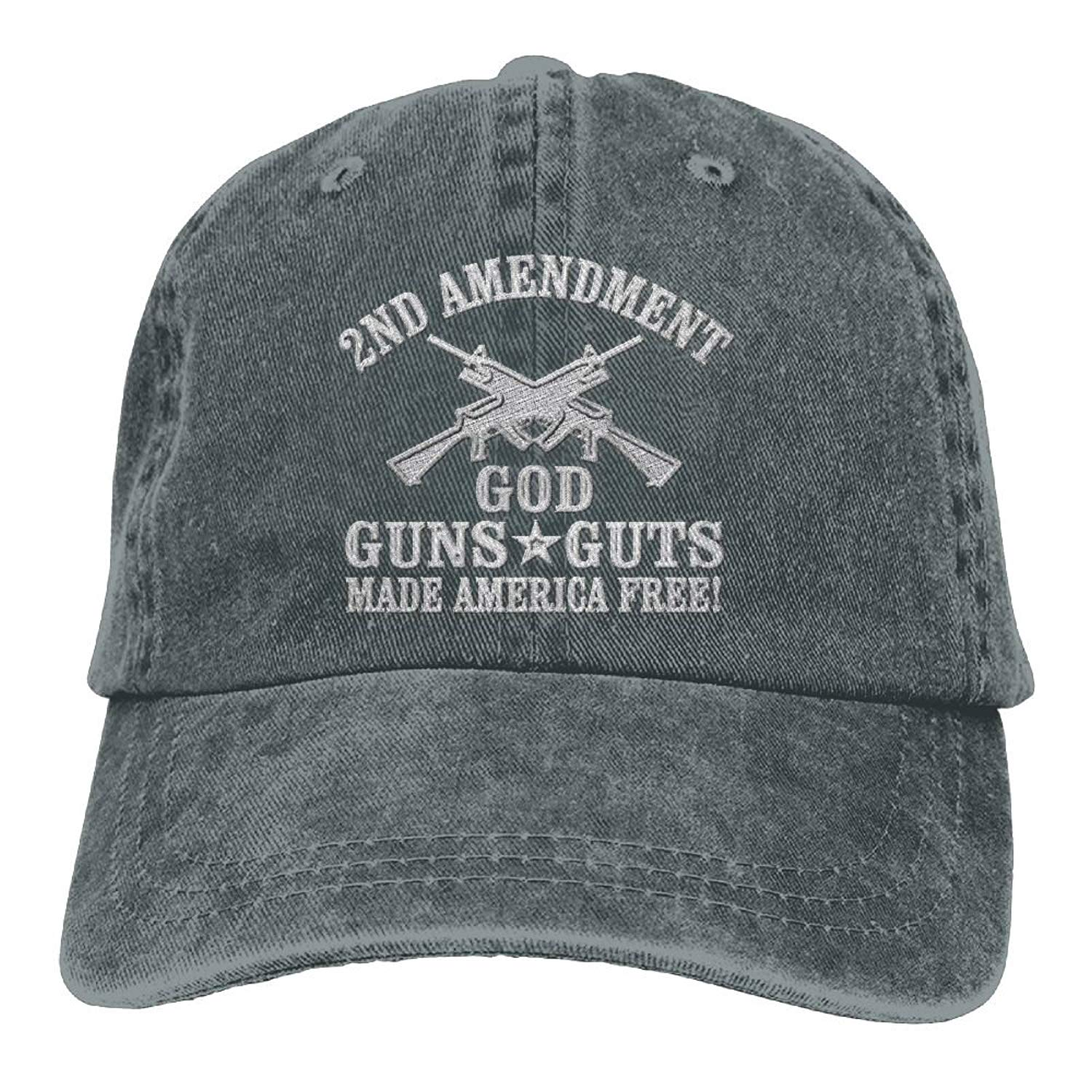 Get Quotations · Inlenged God Guns Guts Made America Free - Embroidered  Retro Denim Baseball Hat Trucker Hat Dad 39408bcdd6e4