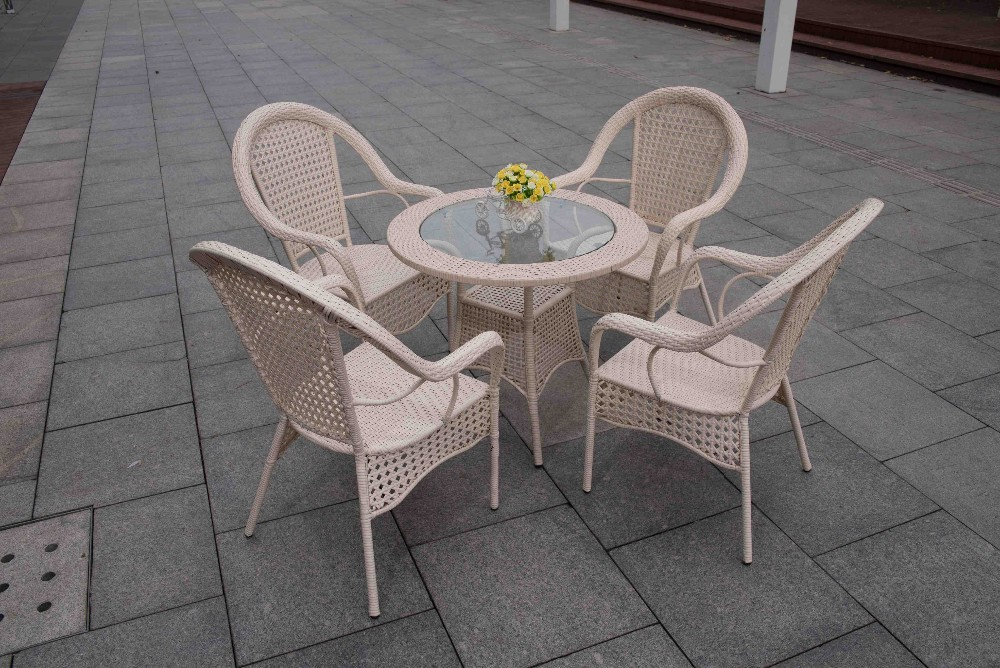Outdoor Furniture Garden Rattan Dining Table Set Terrace Cafe Table
