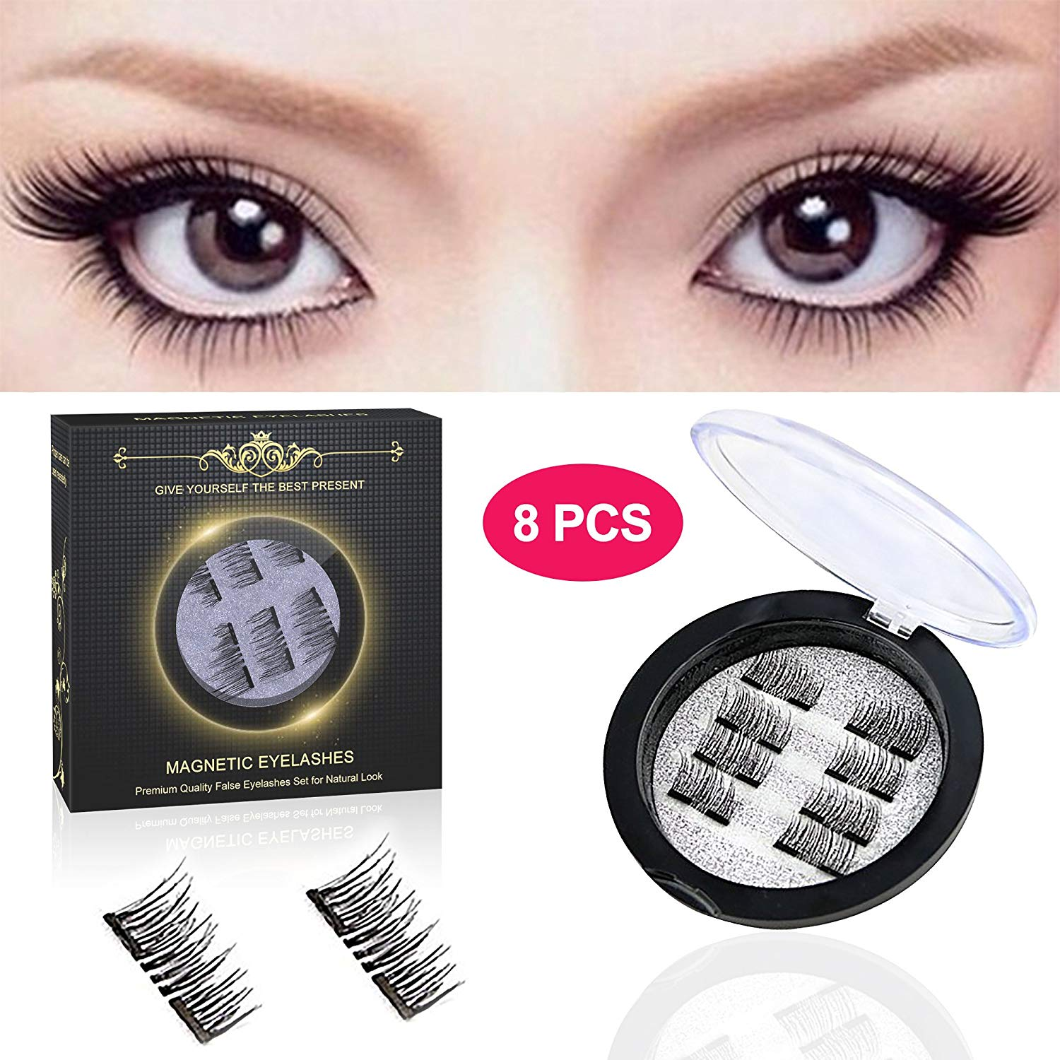 22379d64280 Get Quotations · Magnetic Eyelashes -Pack of 8 pcs, Magnetic False  Eyelashes for Women, False Eyelashes