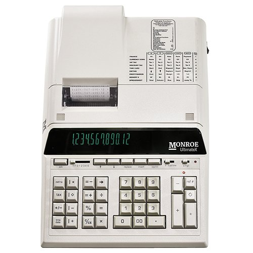 (1) Monroe 12-Digit Print/Display Genuine Monroe UltimateX, Our Top-of-The-Line Heavy-Duty Calculator in Ivory