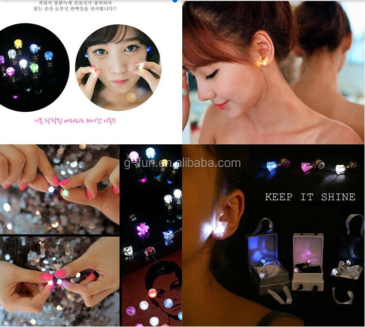 Hot Selling Factory OEM LED Earring For Gilrs/boys Flashing Lighting Earrings With LED