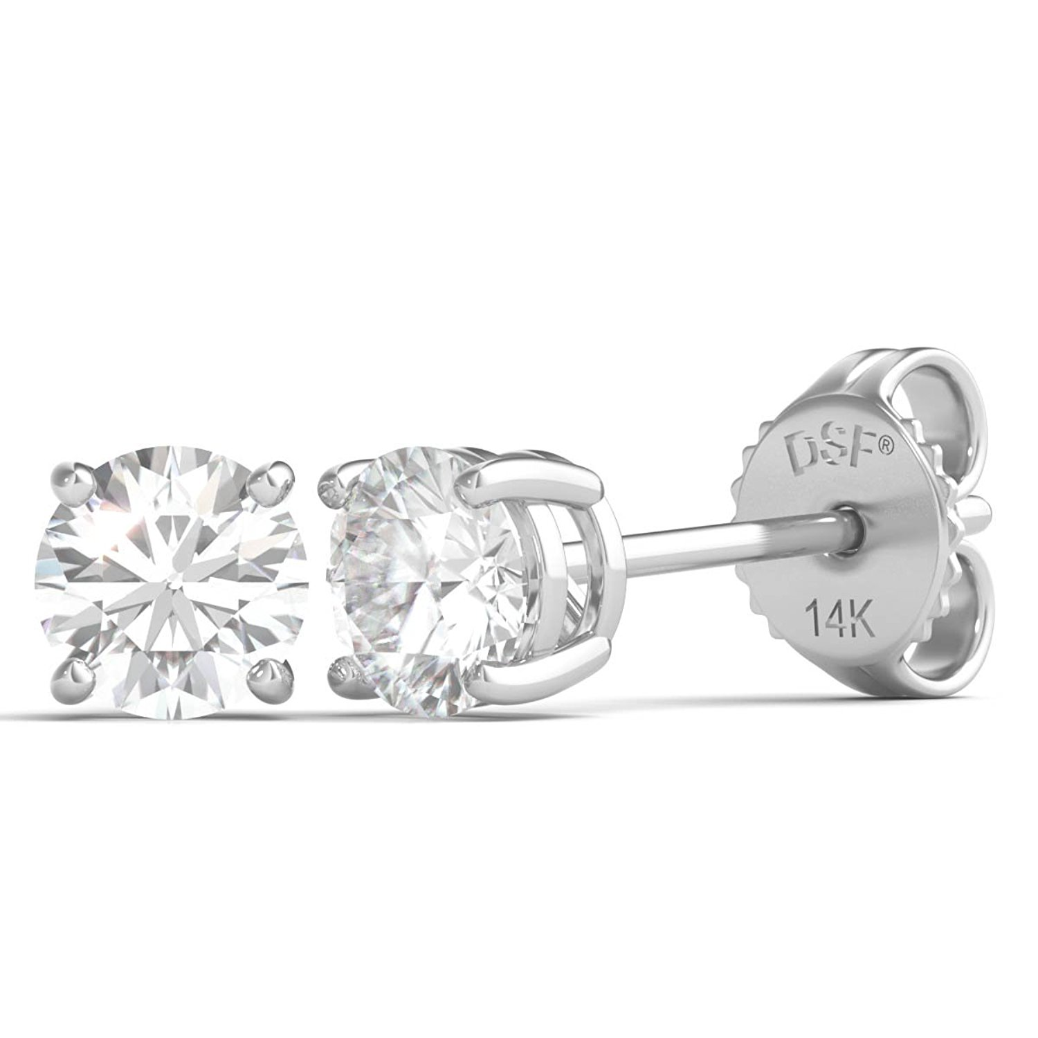 Get Quotations Diamond Studs Forever Ags Usa Certified Solitaire Earring Ef Si2 I1 14k White
