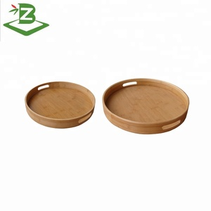 Kitchen Bamboo Serving Round Tray For Food_FSC & BSCI Factory