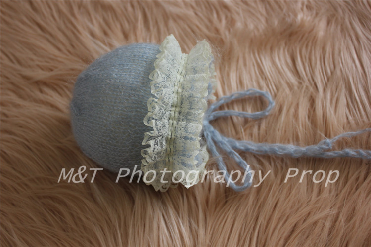 Mohair Bonnet for Newborn with Organza Lace Trim
