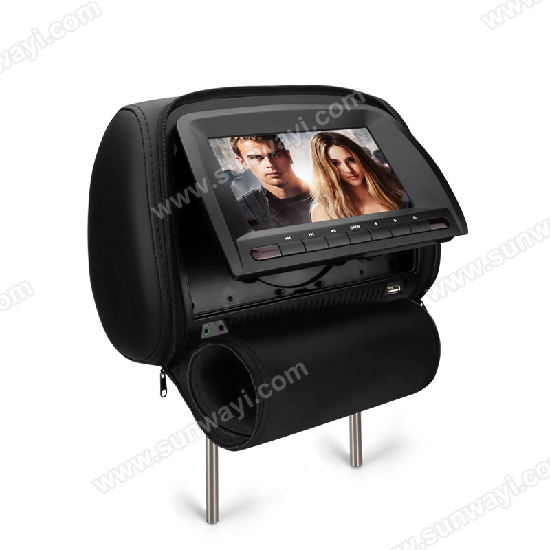 Hot Selling 7-inch Headrest Monitor DVD Player Supports DVD/USB/SD Card/IR/FM Radio/Games