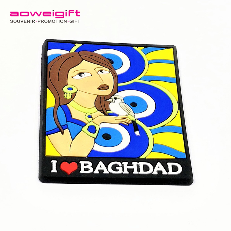 Factory wholesale Iraq travel souvenir soft fridge magnets I heart Bagahdad pvc magnet