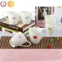 Porcelain white coffee cup heart design for tea coffee