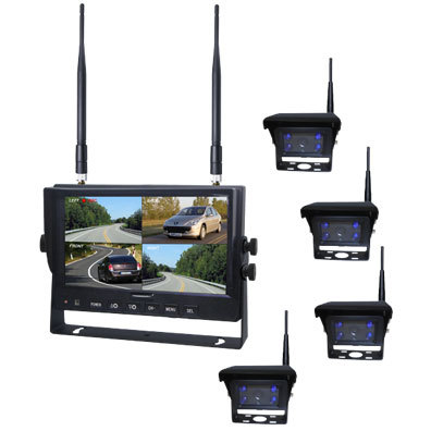 Quad ,Split Display 7inch 2.4G Wireless Revering Camera Monitor With Waterproof Rearview Cameras For Farm Equipment
